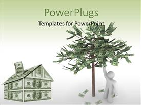 PowerPlugs: PowerPoint template with a 3D character with a house and a tree made up of money