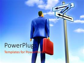 PowerPlugs: PowerPoint template with a 3D character looking up at a sign post with three different arrows