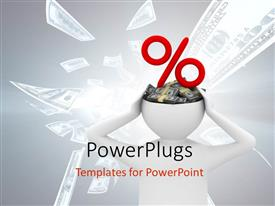 PowerPlugs: PowerPoint template with a 3D character with money in his head and  percentage symbol
