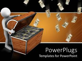 PowerPlugs: PowerPoint template with a 3D character opening a chest filled with dollar bills