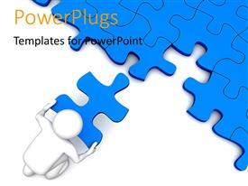 PowerPlugs: PowerPoint template with 3D character placing the missing piece over the puzzles