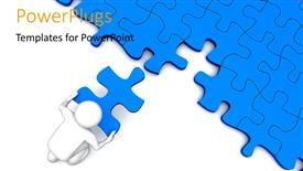 PowerPoint template displaying 3D character placing the missing piece over the puzzles