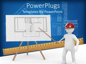 PowerPlugs: PowerPoint template with a 3D character pointing a stick at a board with some images on it
