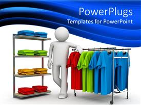 PowerPlugs: PowerPoint template with a 3D character resting on hangers with different colorful shirts
