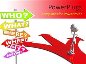 PowerPlugs: PowerPoint template with a 3D character standing on a 3 pointed crossroad confused