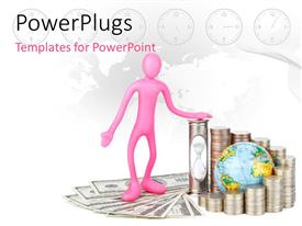PowerPlugs: PowerPoint template with a 3D character standing on some dollar bills and coins