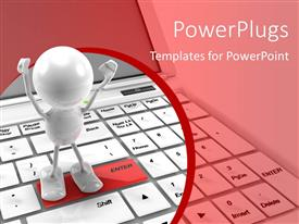 PowerPlugs: PowerPoint template with a 3D character standing on an enter tab on a keyboard