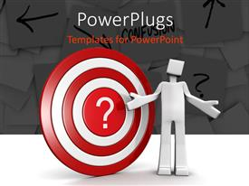 PowerPlugs: PowerPoint template with a 3d character standing in font of a dart board