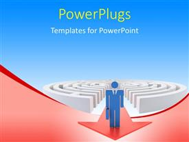 PowerPlugs: PowerPoint template with a 3D character standing at the top of a red arrow coming from a maze