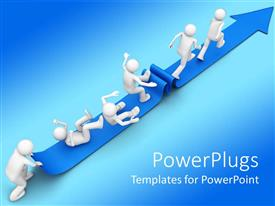 PowerPoint template displaying 3D character struggling to reach the end of a arrow rug