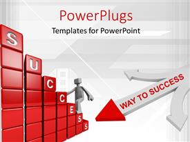 PowerPlugs: PowerPoint template with a 3D character with a text that spells out the word 'Success '