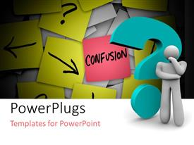 PowerPlugs: PowerPoint template with a 3d character thinking beside a blue question mark