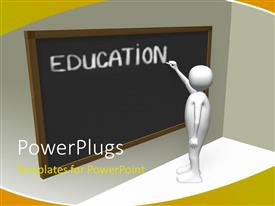 PowerPlugs: PowerPoint template with a 3D character writing a text that spells out the word ' Education'