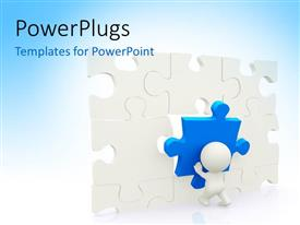 PowerPoint template displaying 3D characters arranging a wall of white and blue puzzles