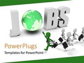 PowerPlugs: PowerPoint template with 3D characters running toward a text that spell out the word 'jobs'