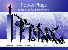PowerPlugs: PowerPoint template with 3D chart bars with one silhouette standing on the top bar and several silhouettes fighting to reach upper positions on the chart with abstract globe surrounded by binary codes