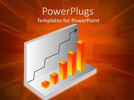 PowerPoint template displaying 3D chart of a orange bar graph growing with a black arrow over orange background
