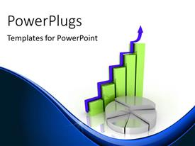 PowerPlugs: PowerPoint template with 3d charts and pie depicting growth with white color