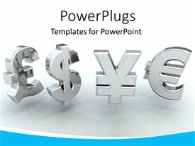 PowerPlugs: PowerPoint template with 3D chrome currency symbols on grey background