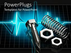 PowerPoint template displaying 3D chrome metal parts on glowing pulse graphic screen, screws, spring, arch,