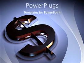 PowerPlugs: PowerPoint template with 3D chrome plated dollar sign on blue surface