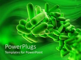 PowerPoint template displaying 3D close up of isolated green bacteria on green background