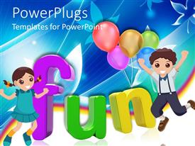 PowerPlugs: PowerPoint template with 3D colored letters writing the word fun with happy girl and boy and five colorful balloons on floral and rainbow themed background