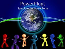 PowerPlugs: PowerPoint template with 3D colored men dancing beside globe on blue and black background