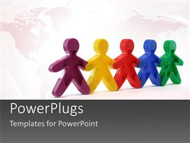 PowerPlugs: PowerPoint template with 3D colored men hold hands over world map in background