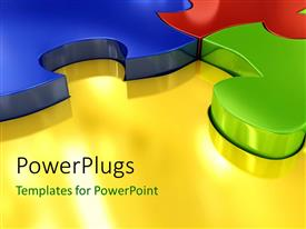 PowerPlugs: PowerPoint template with 3D colored puzzles connected with each other over the glowing yellow surface