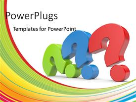 PowerPlugs: PowerPoint template with 3D colored question marks depending balanced on one another with colored curves