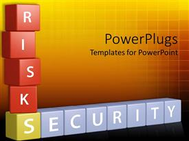 PowerPoint template displaying 3D colorful blocks of crosswords with risks and security words on red, yellow and blue blocks on orange background