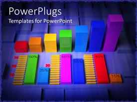 PowerPlugs: PowerPoint template with 3D colorful glass material used for bar chart