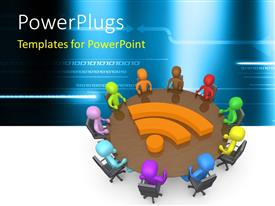 PowerPlugs: PowerPoint template with 3D colorful human characters in a community discussion around a table with binary effect in the background