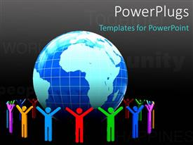 PowerPlugs: PowerPoint template with 3D colorful people around earth globe with keywords and black color