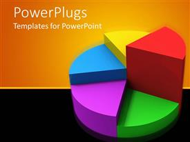 PowerPoint template displaying 3D colorful pie chart with raised pieces, orange and black background