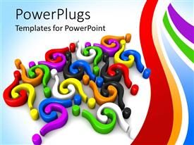 PowerPlugs: PowerPoint template with 3D colorful question marks and colored waving lines on gradient blue to white background