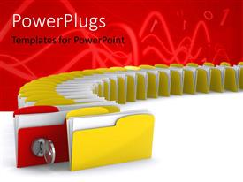 PowerPlugs: PowerPoint template with 3D Computer folder with key depicting security concept with digital numbers