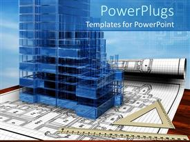 PowerPlugs: PowerPoint template with a 3D conceptual design of the house with blue background