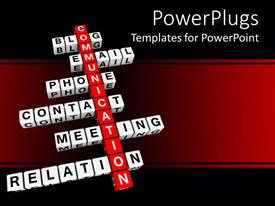PowerPoint template displaying 3D crossword blocks, crossword with red word communication and white blocks with words related to communication, blog, email, phone, contact, meeting, relation