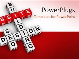 PowerPlugs: PowerPoint template with 3D crossword puzzle cubes for website building and design, website word on red cubes and white cubes with words building, design and seo