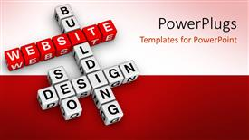 PowerPoint template displaying 3D crossword puzzle cubes for website building and design, website word on red cubes and white cubes with words building, design and seo