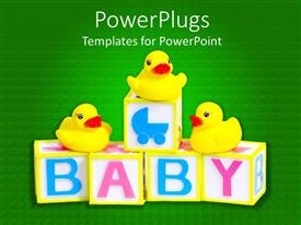 PowerPlugs: PowerPoint template with 3D cubes with pink and blue baby word and three yellow rubber ducks on green background