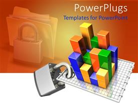 PowerPlugs: PowerPoint template with 3D depiction of a colorful chart with a metallic pad lock