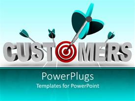 PowerPlugs: PowerPoint template with 3D depiction of customers word with red target instead of o letter and four darts
