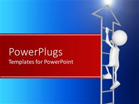 PowerPlugs: PowerPoint template with 3D depiction of a dummy climbing up a ladder pointed upwards