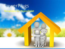 PowerPoint template displaying 3D depiction of a family inside model of a house with blurred nature background