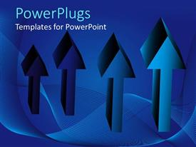 PowerPlugs: PowerPoint template with 3D depiction of four arrows on a blue colored background