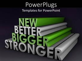 PowerPoint template displaying 3D depiction of green and white text on a black background