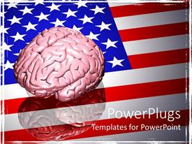 PowerPlugs: PowerPoint template with a 3D depiction of a human brain on an American flag